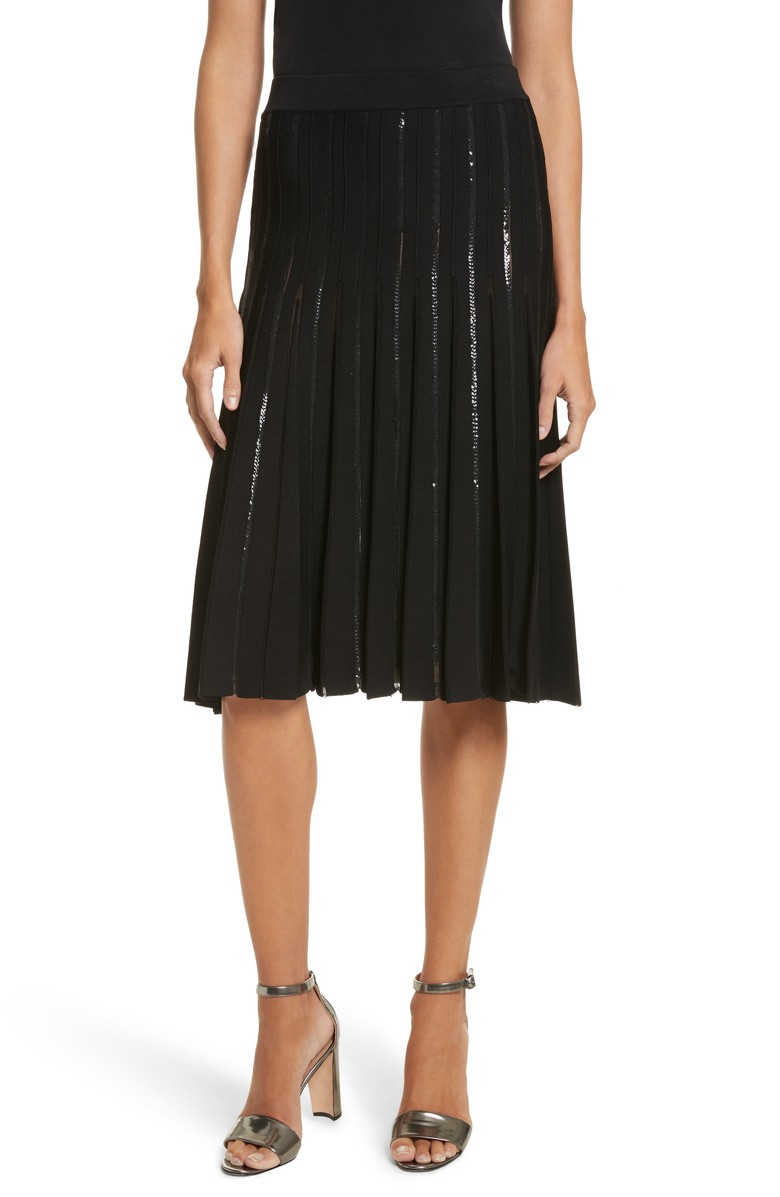 Pleated Sequin Flare Skirt .jpg