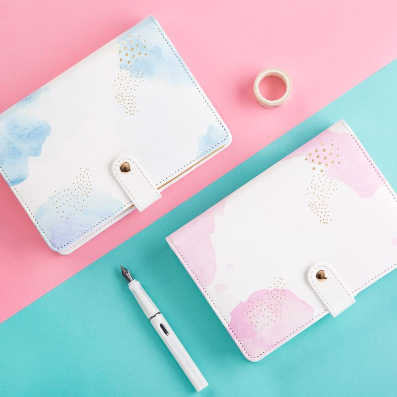 Blue and Pink Spiral Leather A6 Journal Lined Paper .jpg