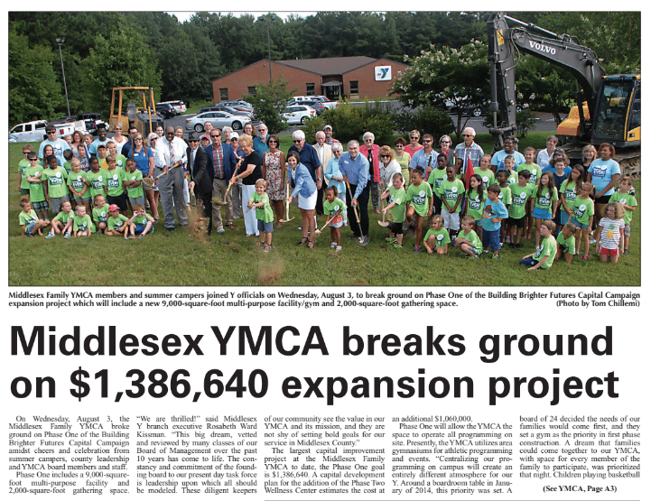 "Middlesex YMCA Breaks Ground | Sentinel   ""On Wednesday, August 3, the Middlesex Family YMCA broke ground on Phase One of the Building Brighter Futures Capital Campaign amidst cheers and celebration...""  Read More   »"