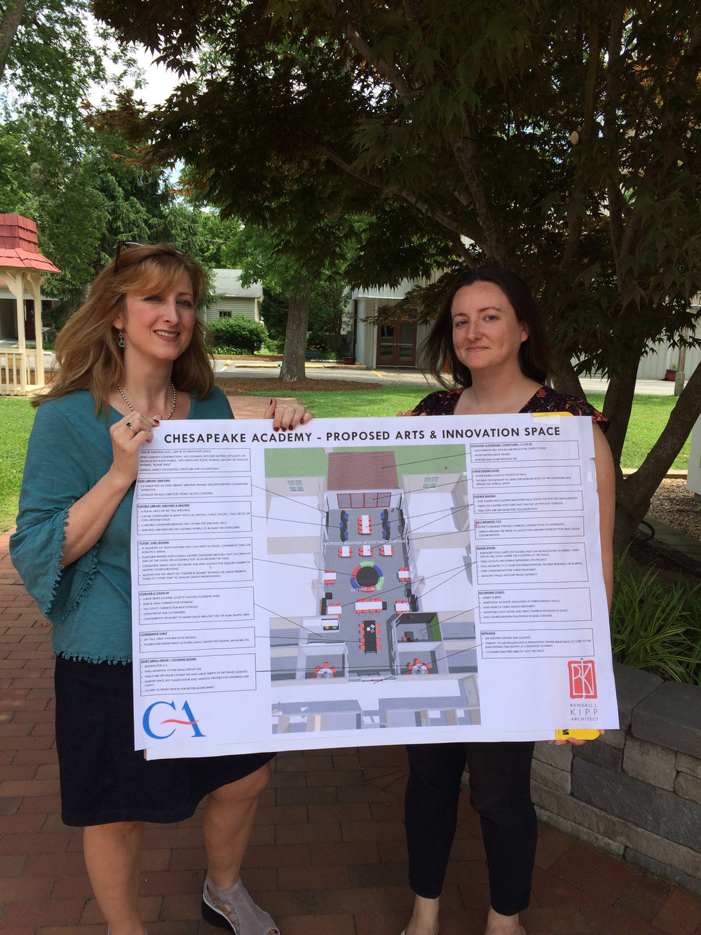 Chesapeake Academy's Julianne Duvall, Head of School, and Kimberly Dynia, Instructional Technology Coordinator, display plans for the proposed Arts & Innovation Space.  Read More »