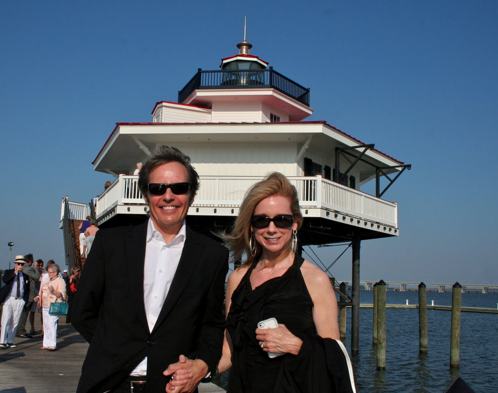 Randall and his wife, Alison Drake, at the Choptank River Lighthouse dedication.