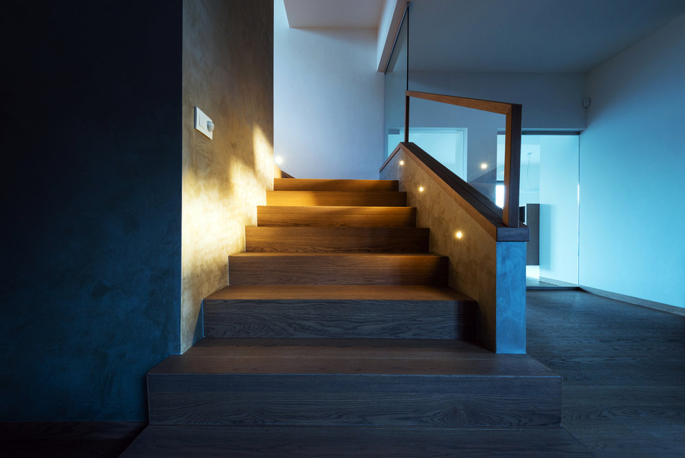 Sleek stairway lighting.