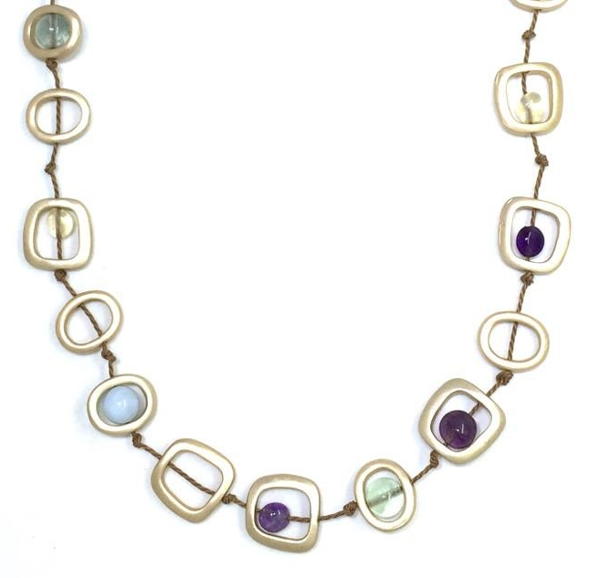 Gold Geometric Single Strand Necklace