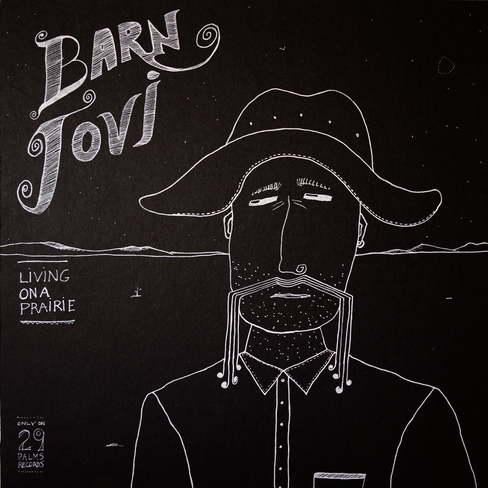 "'Barn Jovi."" 12"" x 12"" pen and ink on wood panel."