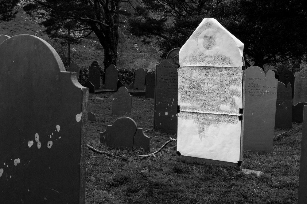 The Williams' family graves: Griffith (jr), Owen, Ellen and Robert. All in a line in the South East corner of Nantperis Graveyard. Facing their home, Coed Gwydr (also known as Coed Gwydir, Coed y Gwydyr)