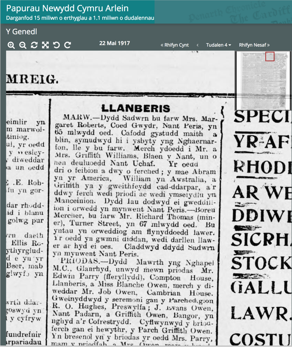 Mrs Margaret Roberts obituary 1917.png