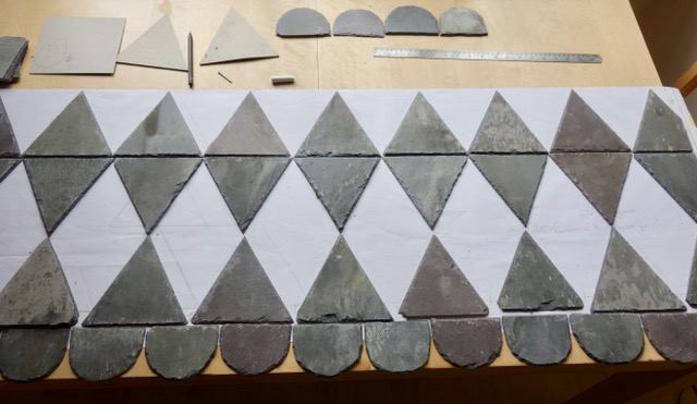 Side panels using mainly triangles and diamonds. A common geometric shape used to create pattern in Welsh quilts. The slate scalloped forms are used on ornate roofs but mainly overlapping each other.