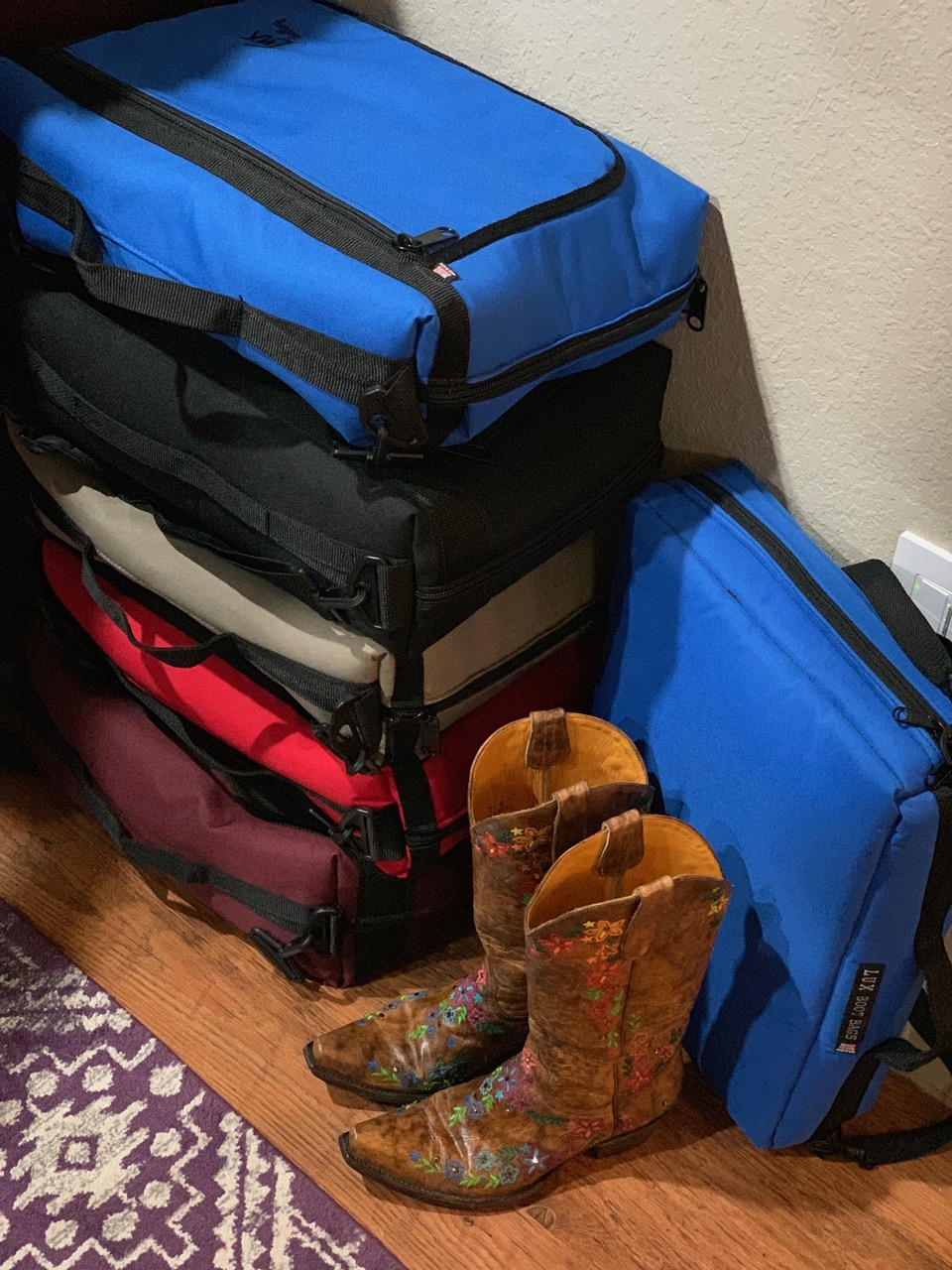 Pack, Stack, Store, Grab & Go!! - Another BONUS…just think about this…You can STACK more of your boots in LuxBootBags adding MORE space for sweet additions to your Boot Collection! PLUS, have them packed and ready to go at a moments notice!