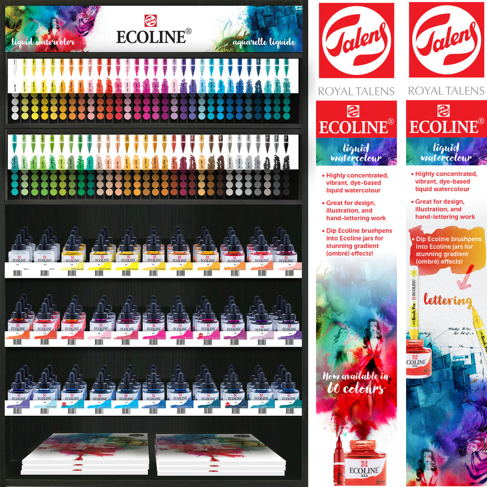 550-8404 Ecoline Combo Brush Pen and Jar Display