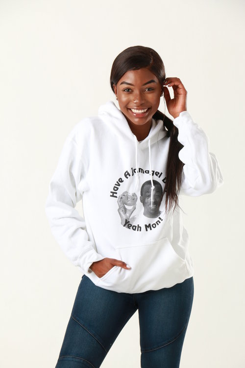 Stunning model posing in hooded sweatshirt