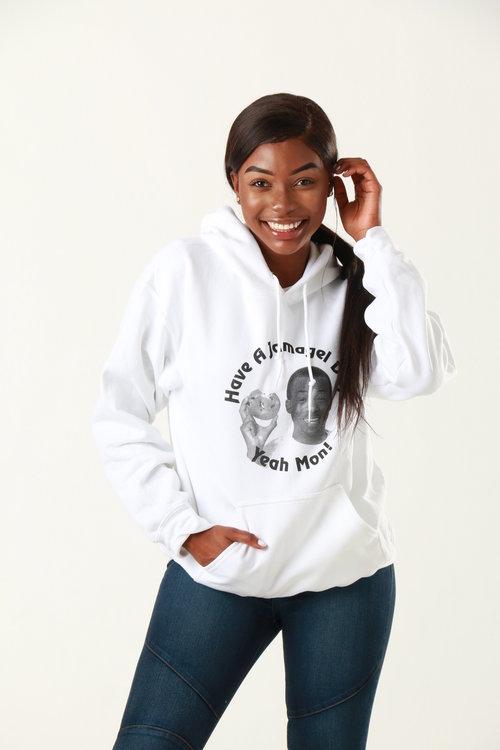 Stunning model posing in hooded sweatshirt