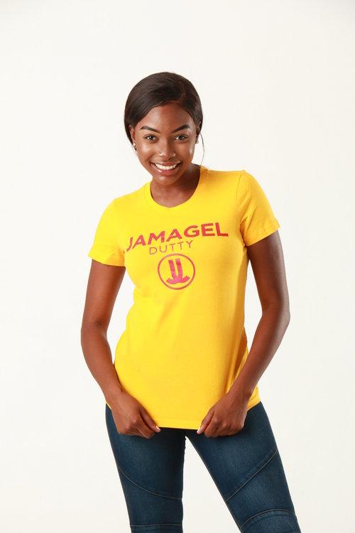 Happy model posing in yellow t-shirt