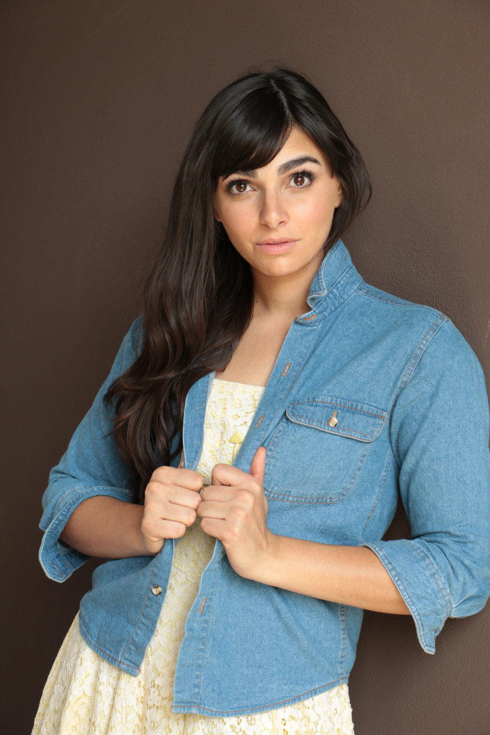 Female model Headshot in denim shirt