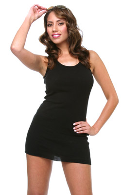 Model posing in black dress