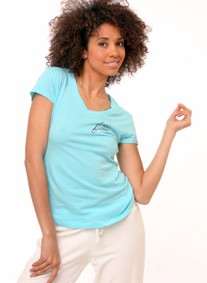 Model posing in blue shirt