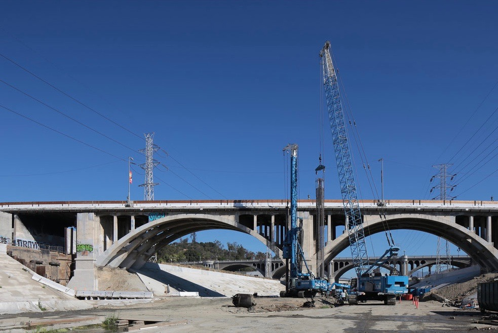 Spring Street viaduct during widening