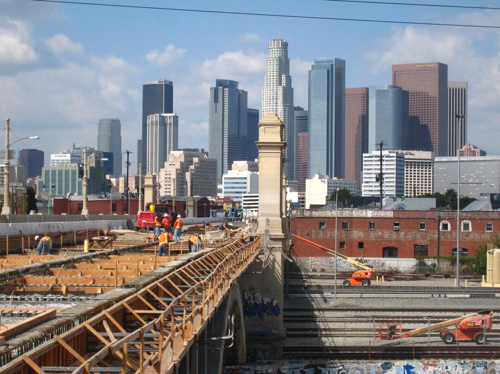 Iconic view of DTLA from 1st Street bridge
