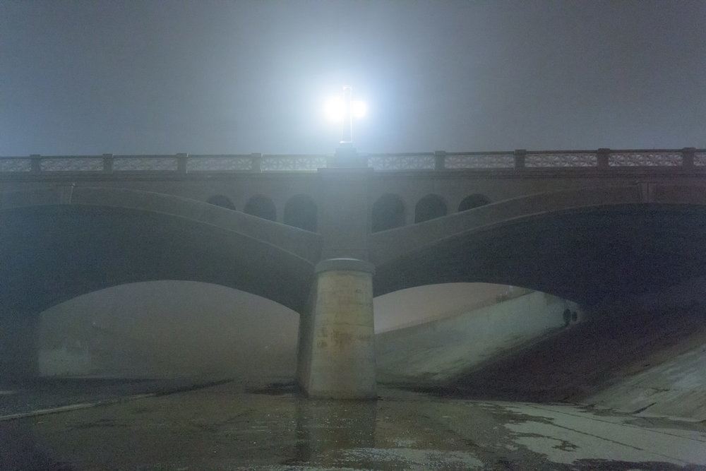 Foggy night at North Main bridge