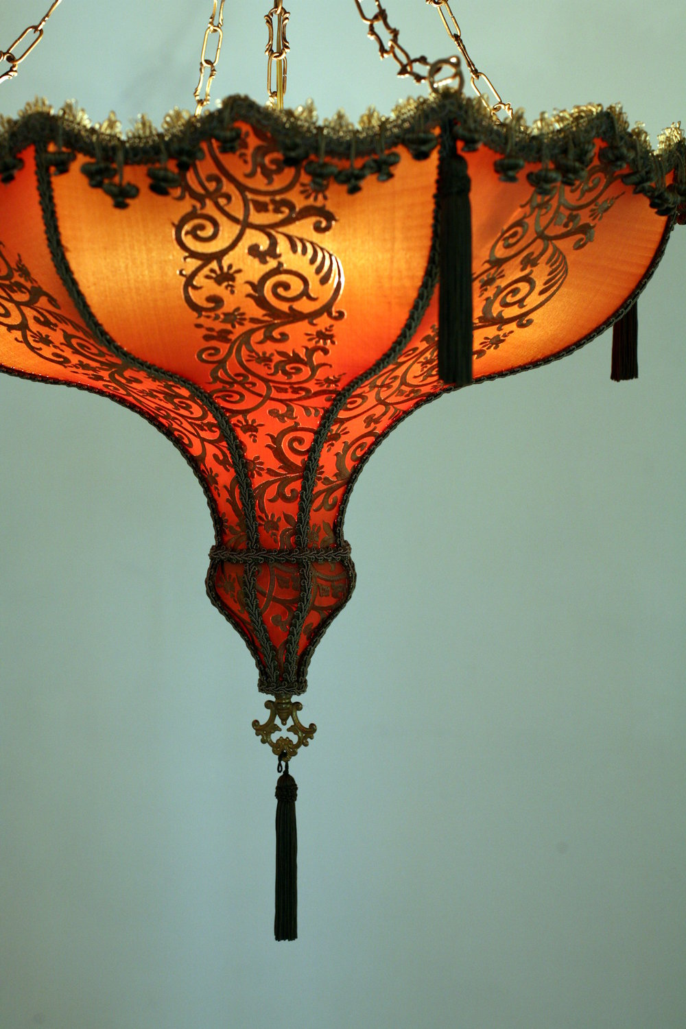 Antique lamp with custom lamp shade