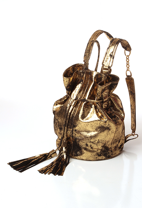 Frontside of gold leather backpack