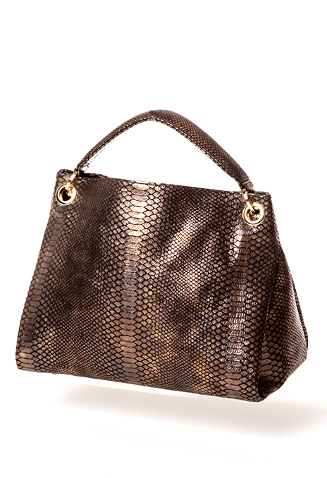 Bronze colored snakeskin handbag