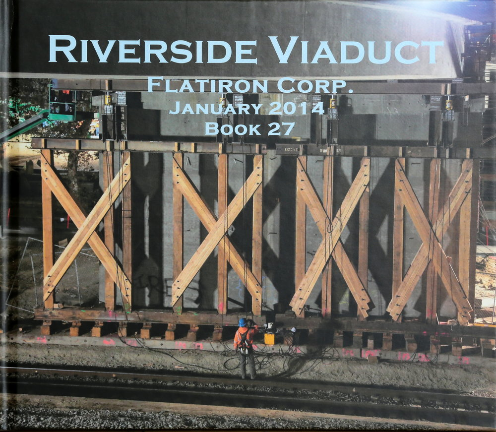 Book cover displaying progress, month to month, of construction at the riverside drive bridge