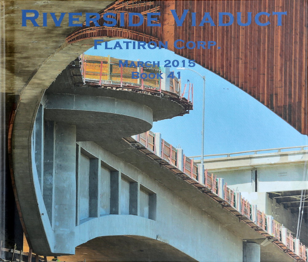 Book cover displaying progress, month to month, of construction at the riverside drive viaduct