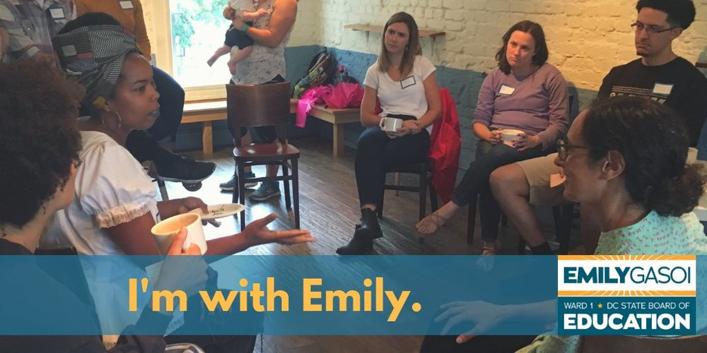 """Candace Cunningham, workers' rights activist, former 2nd grade DC Teaching Fellow, Columbia Heights Native - """"I'm with Emily because she's an educator that understands the needs and challenges of today's educators."""""""