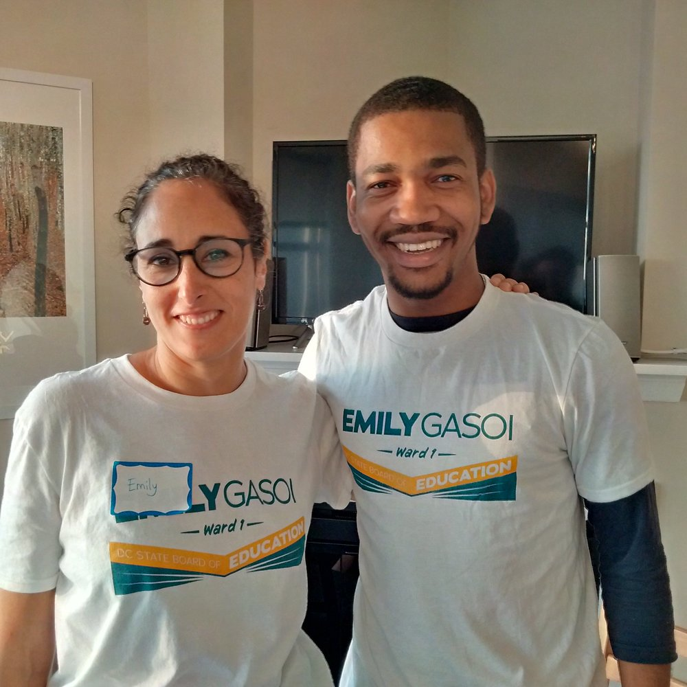 Tony Donaldson, Jr., Ward 1 Democratic Committee member - Today I am honored and excited to endorse my friend @EmilyGasoi for the DC State Board of Education! #ImWithEmily because she has the experience as a parent, educator, and ed policy advocate that matters when it comes to ensuring all students get a high quality education!