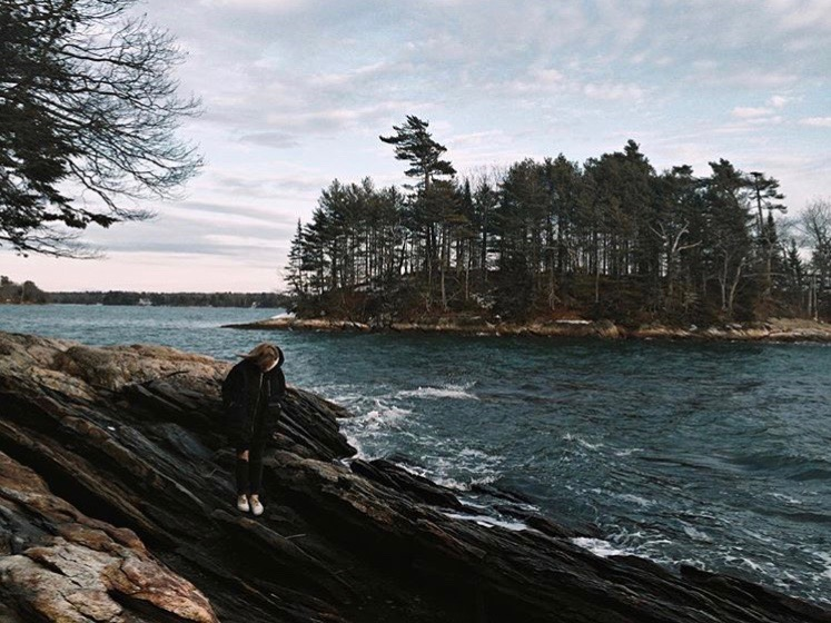 Pictured: Me at Wolfe's Neck State Park in January. I give the park a 10/10 for being very beautiful, but would not recommend going when it's -20F with windchill.
