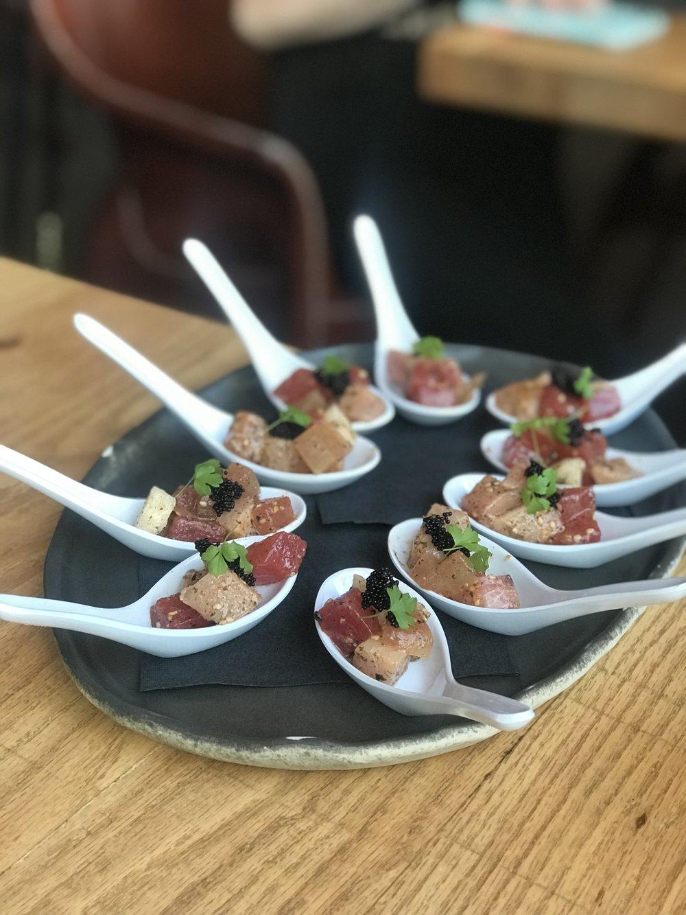 Tuna, watermelon, & jicama starter