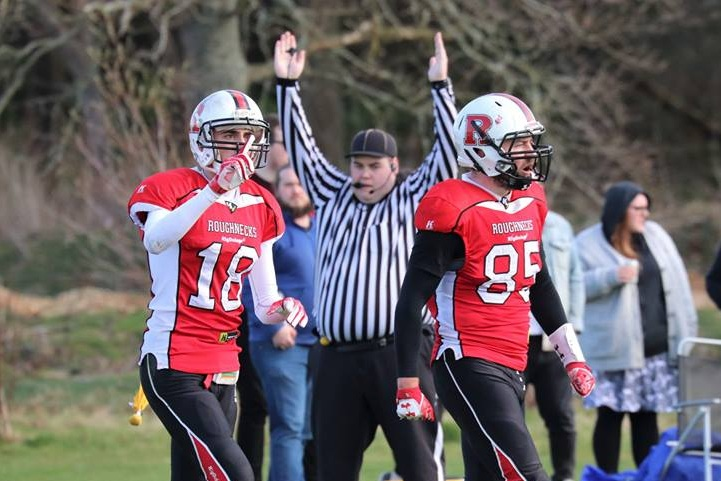 Rob Hayes (Right) just after cutting the deficit with his receiving touchdown