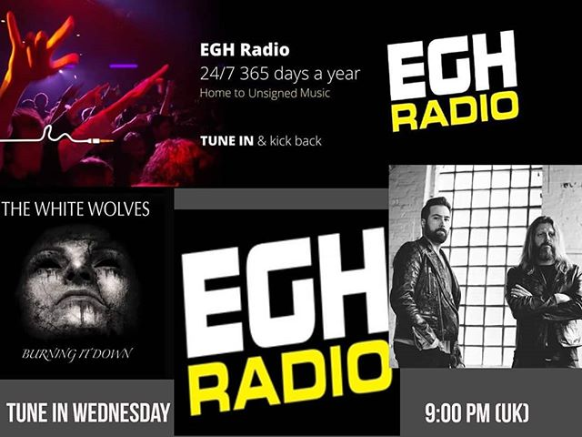 """RADIO NEWS: 👇🎶🎤👇 Debut of The White Wolves """"Burning It Down"""" on EGH Radio with Stephen Lambert's #UnsignedMadness  TUNE IN this Wednesday 9pm UK then show will be added to Mixcloud  #thewhitewolvesmusic  #Radio #burningitdown #uk #nashville #rock #pop #music"""