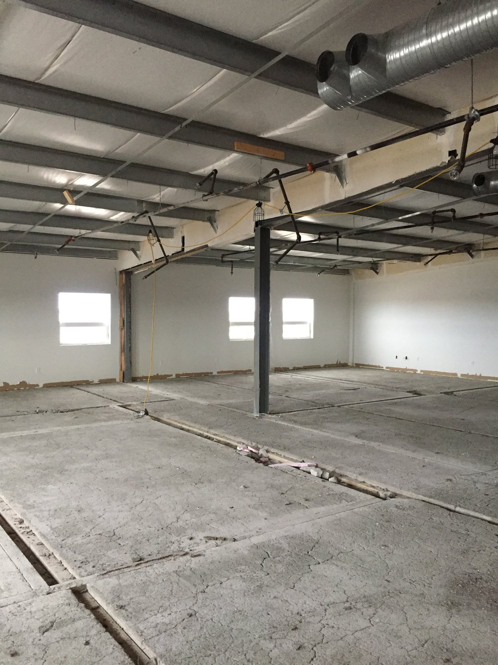 T-bar removed and floor prepped