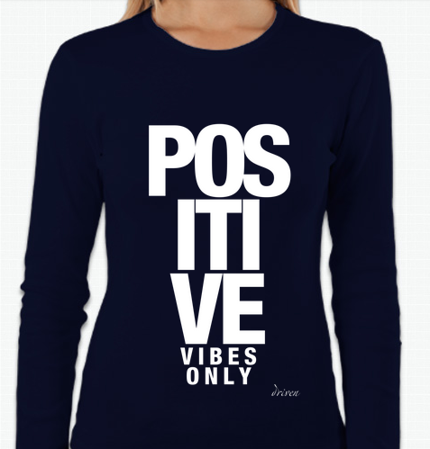 Women's Crewneck Positive Vibes Only Long Sleeve Tee, Navy
