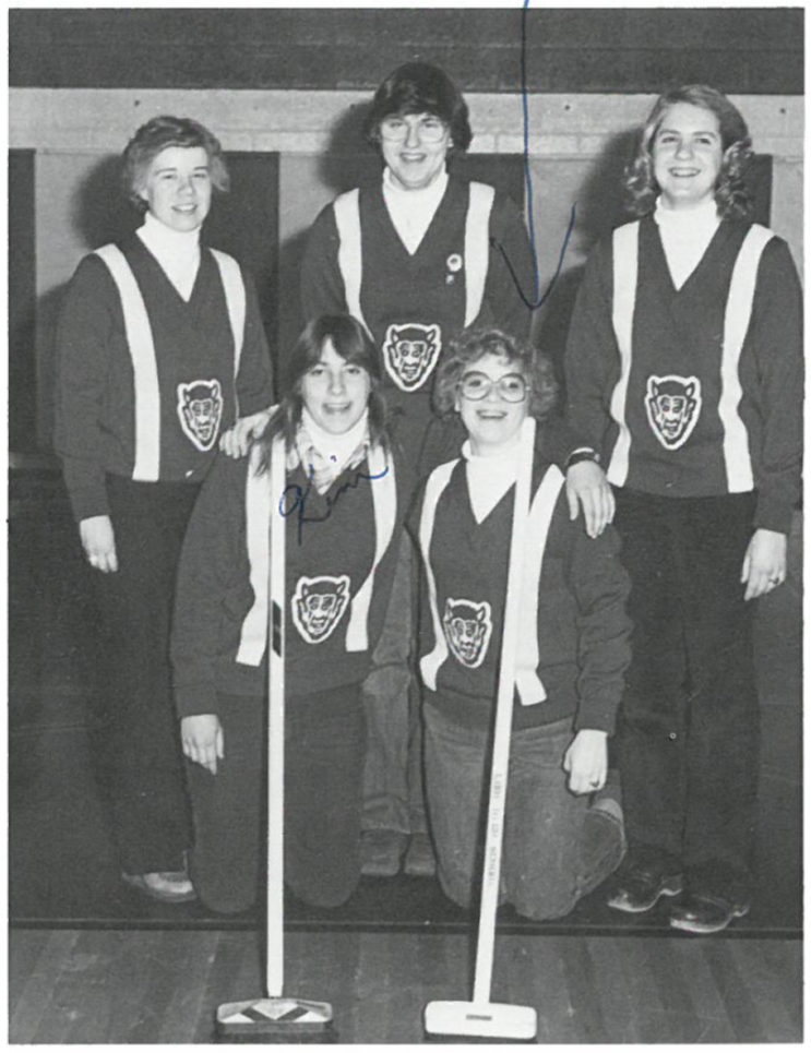 Ann on the Lodi High School Curling Team.