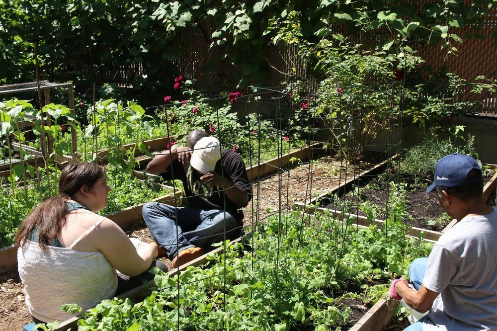 Clients/residents enjoy the garden at 111th Street.