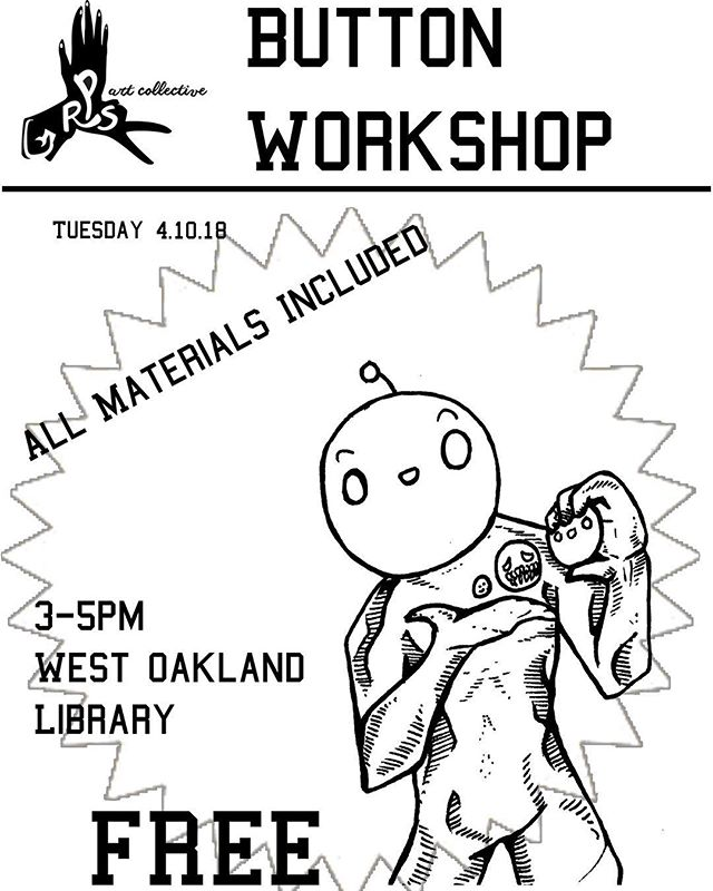 Come make nifty #buttons with us today @oaklibrary west oakland branch from 3-5!! free