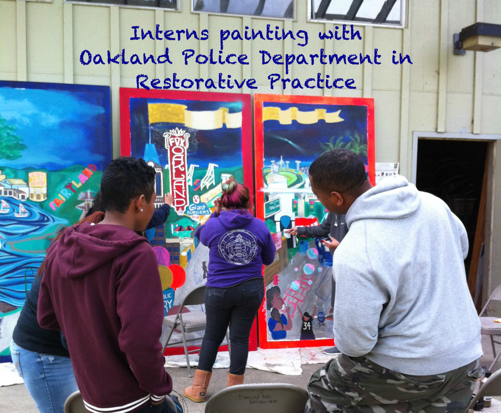 RPSC interns painting with Oakland Police Department in Restorative Practice 2.jpg