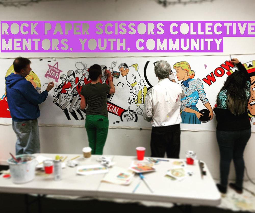 interns and mentors painting at pacific pinball museum.JPG