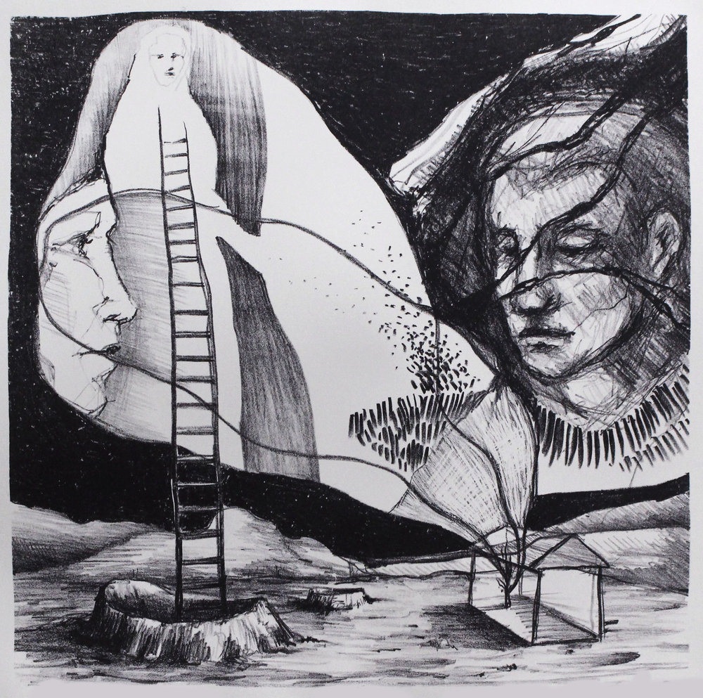 Ascendant 2017 lithograph drawn with and printed by Edie Overturf