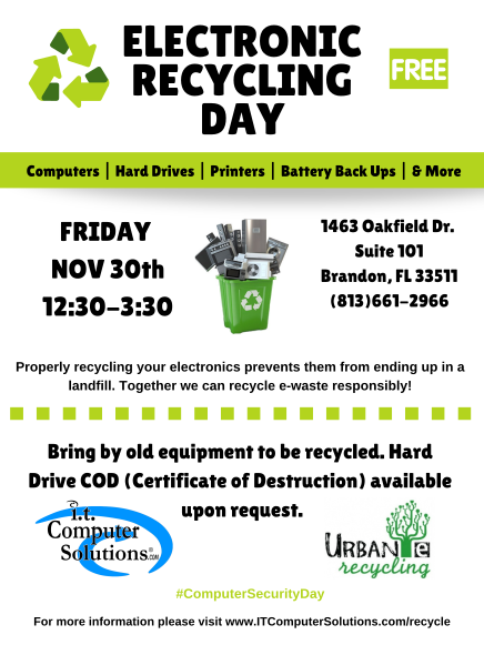 - Hard drive shredding on site. Certificates of Destruction will be available.Click HERE to RSVP to the event.Click HERE to see a full list of accepted items.