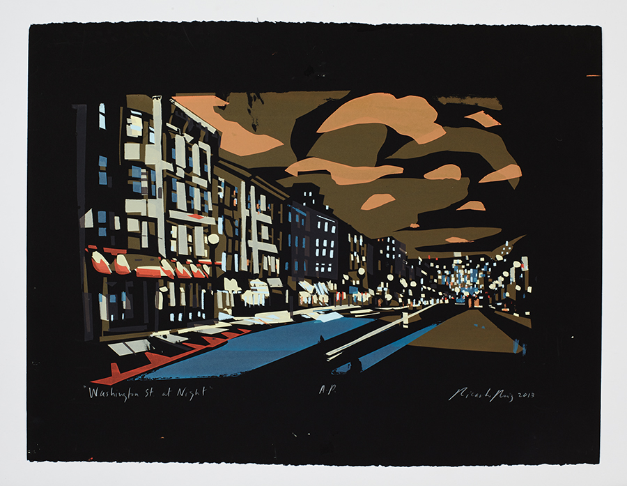 """Washington Street at Night"""