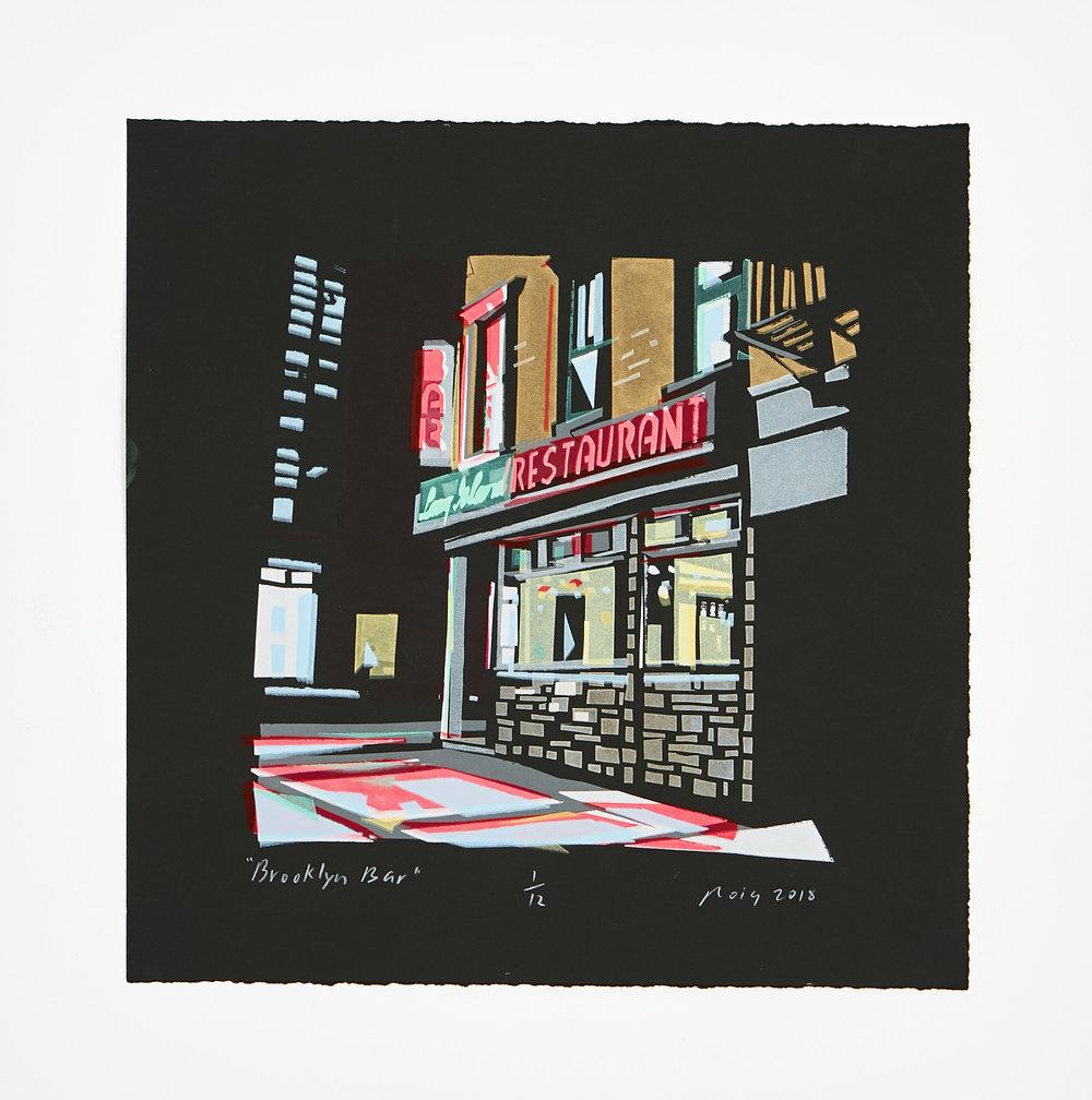 """Brooklyn Bar"" 2018 15"" X 15"" Limited Edition of 12 Hand Cut Screen Prints"
