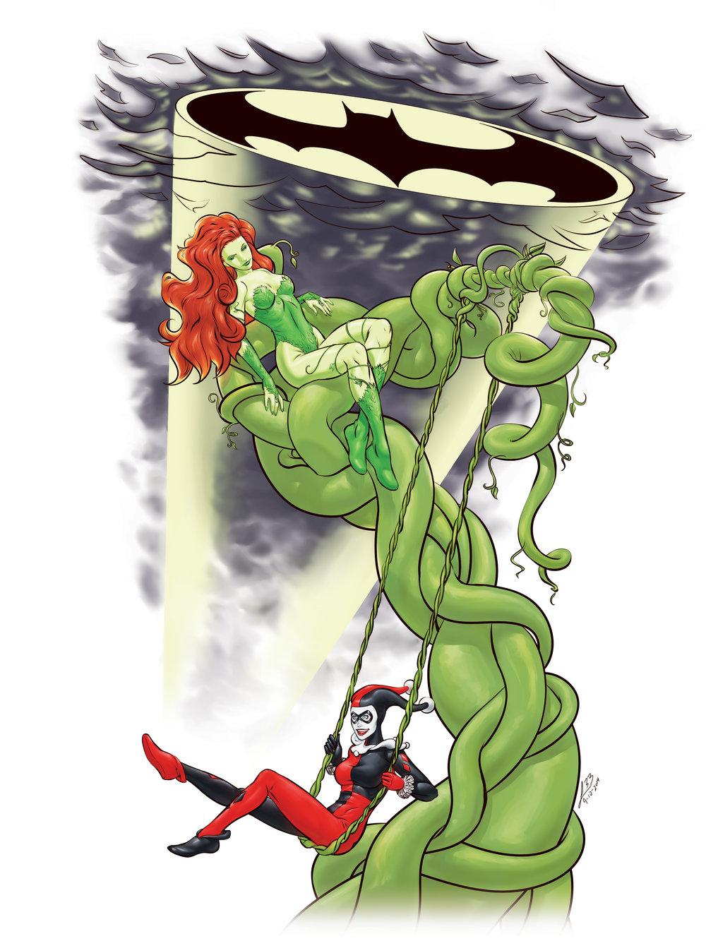 Harley Quinn swinging on a Poison Ivy vine