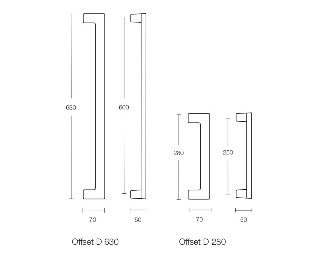 Dimensional Drawing Offset D Pull Handle