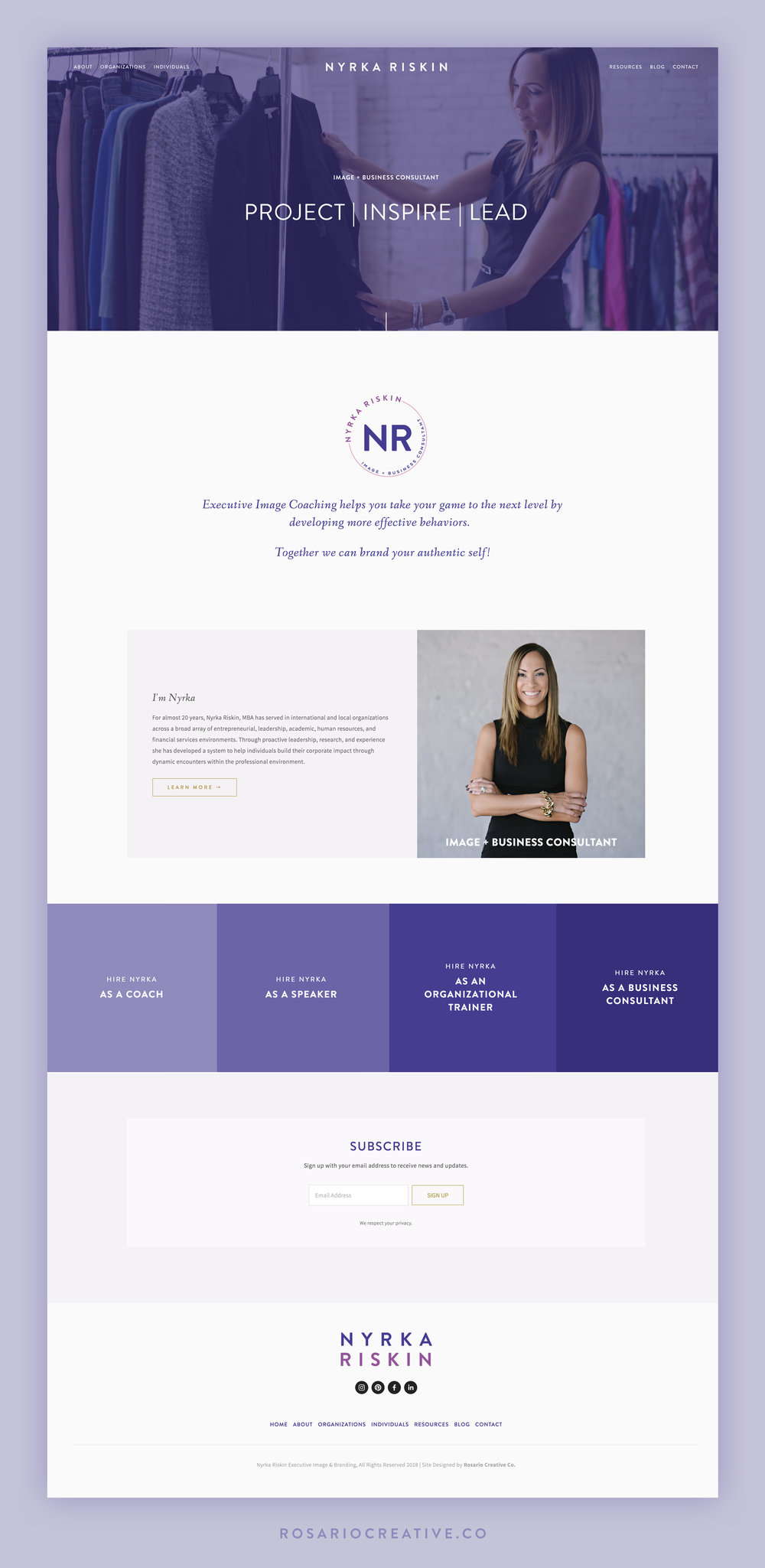 Nyrka Riskin Squarespace Website Homepage