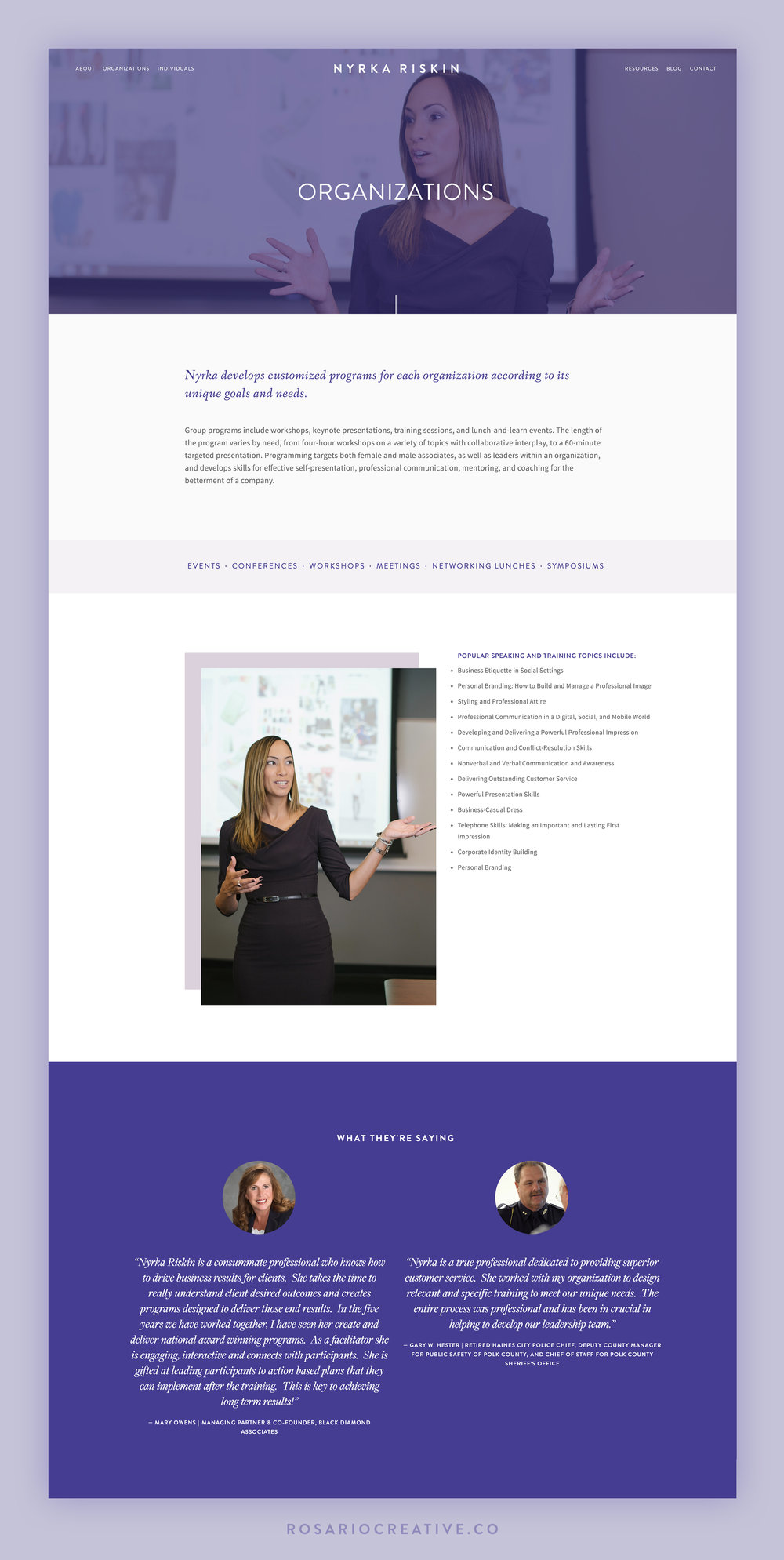 Nyrka Riskin Squarespace Website Organizations Page