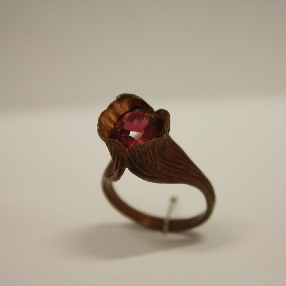 Namibian rubelite garnet and copper ring