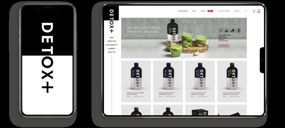 Toronto branding design consultancy – Detox Plus E commerce Web Responsive Design – Desktop and mobile interface, Home
